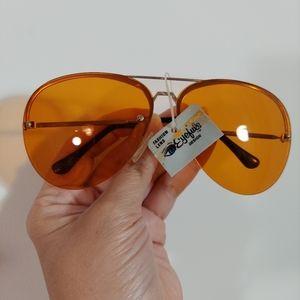 Vintage 70s 80s yellow aviator rimless sun glasses
